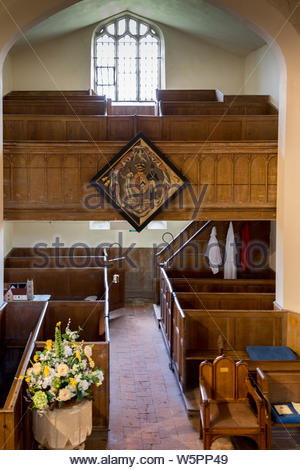 Interior of St. Mary's Church Hartley Wintney, Hampshire UK. Picture shows the galleried North Transept and the Victorian box pews - Stock Photo