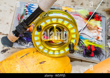Saltwater fly fishing flies and fly rod and reel - Stock Photo