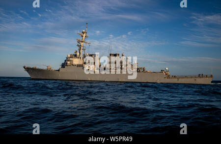 ATLANTIC OCEAN (July 26, 2019) — The Arleigh Burke-class guided-missile destroyer USS Porter (DDG 78) transits the Atlantic Ocean July 26, 2019. Porter, forward-deployed to Rota, Spain, is on its seventh patrol in the U.S. 6th Fleet area operations in support of U.S. national security interests in Europe and Africa. (U.S. Navy photo by Mass Communication Specialist 3rd Class T. Logan Keown/Released) - Stock Photo