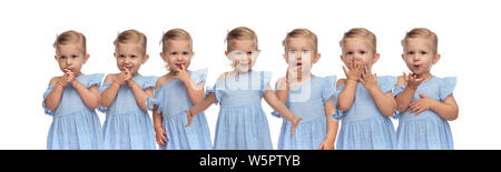 collage image of a cute happy little girl in different portrait poses on white background - Stock Photo
