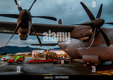 Airport workers unload a C-130 Hercules at the Nadi International Airport, July 27. The aircraft was one of two that brought by the U.S. Army, bringing Soldiers serving with the 1st Battalion, 27th Infantry Regiment, 2nd Brigade, 25th Infantry Brigade Combat Team, to stage and prepare for Exercise Cartwheel that will start on the 29th. Exercise Cartwheel is a bilateral military-to-military training exercise, and is an opportunity to enhance professional relationships, military operations, and readiness between the U.S. Army and Fijian forces while strengthening security relations for a free an - Stock Photo