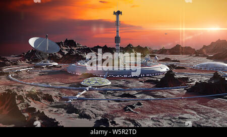 station on Mars surface, first martian colony in desert landscape on the red planet (3d space render) - Stock Photo