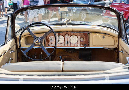 Rome,Italy - July 20, 2019:On occasion of  Rome capital city Rally event, an exhibition of vintage cars has been set up with the beutiful black car mo - Stock Photo