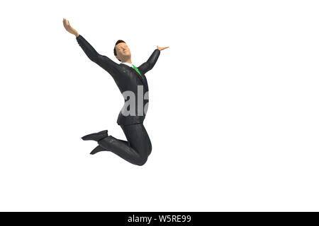 toy miniature businessman figurine is jumping for joy and happiness, concept isolated on white background - Stock Photo