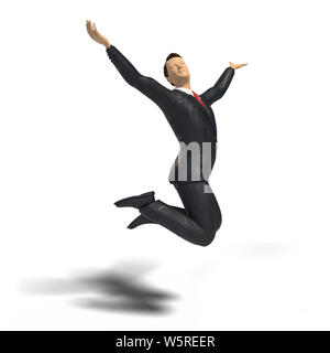 toy miniature businessman figurine is jumping for joy and happiness, concept isolated with shadow on white background - Stock Photo
