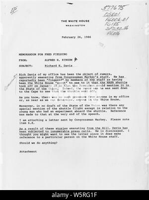 Memo from Alfred H. Kingon to Fred Fielding, re Richard H. Davis; Scope and content:  Memo from the Cabinet Secretary to the White House Counsel, regarding unfounded allegations that a White House staff person had a role in the timing of the space shuttle Challenger launch. - Stock Photo