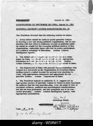 National Security Action Memorandum No. 31 Memo of Discussion on Cuba; Scope and content:  Memorandum on Cuban Policy. - Stock Photo