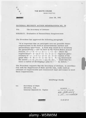 National Security Action Memorandum No. 56 Evaluations of Paramilitary Requirements; Scope and content:  Memorandum for Secretary of Defense on paramilitary operations. - Stock Photo