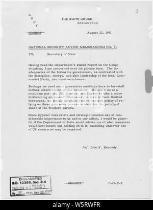National Security Action Memorandum No. 71 Cyprus; Scope and content:  Memorandum for Secretary of State voicing concern over Cyprus. - Stock Photo