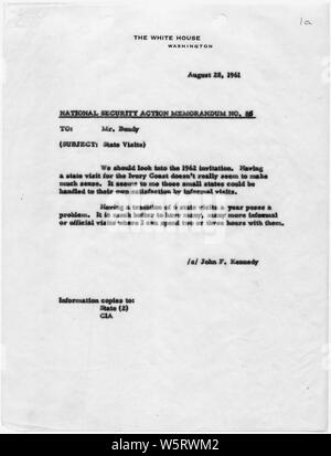 National Security Action Memorandum No. 85 State Visits; Scope and content:  Memorandum for McGeorge Bundy on 1962 state visits. - Stock Photo