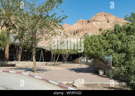 the entrance courtyard at ein gedi national park and reserve in israel with mount yishai and a clear blue sky in the background - Stock Photo