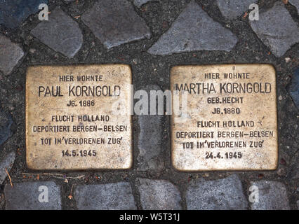 Stumbling stones, escape to Holland, deported to Bergen-Belsen, dead in the 'Lost Train' - Stock Photo