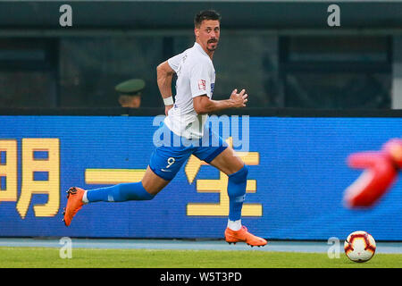 German football player Sandro Wagner of Tianjin TEDA dribbles against Tianjin Tianhai in their 20th round match during the 2019 Chinese Football Association Super League (CSL) in Tianjin, China, 28 July 2019. Tianjin Tianhai defeated Beijing Renhe 1-0. - Stock Photo