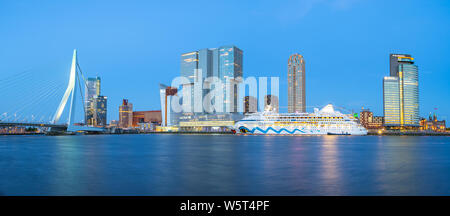 Panorama view of Rotterdam city skyline with Erasmus Bridge in Rotterdam, Netherlands. - Stock Photo