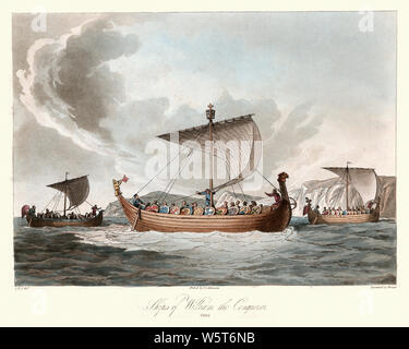 Vintage engraving of Norman Conquest, Ships of William the Conqueror, 1066, 11th Century. Ancient costumes of England, 1813 - Stock Photo