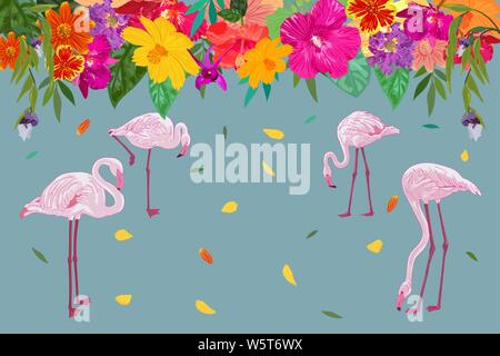 Colorful realistic tropical flower backdrop with floating petal and flamingos on blue background with copy space. vector illustration. - Stock Photo