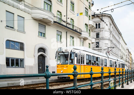Budapest, Hungary _ July 05, 2019: The Budapest tram network is part of the mass transit system of Budapest, the capital of Hungary. The tram lines ca - Stock Photo
