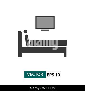 Man watching tv in bed icon. Isolated on white background. Vector illustration EPS 10 - Stock Photo