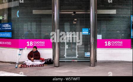 Buenos Aires, 23 de Julio de 2019. La crisis económica golpea Argentina. 8.000 personas viven en la calle pese al crudo invierno sólo en Buenos Aires. - Stock Photo