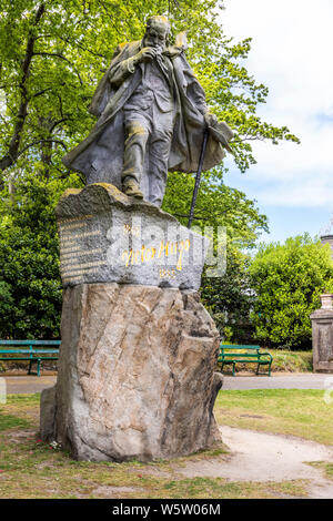A statue of Victor Hugo in Candie Gardens, restored late 19th century gardens, St Peter Port, Guernsey, Channel Islands UK