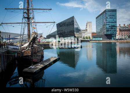 View from The Royal Albert Dock, Liverpool, UK. - Stock Photo