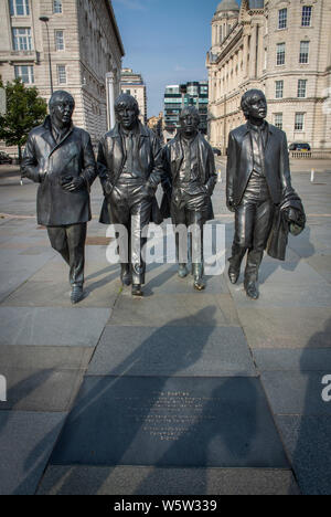 The Beatles statue at Pier Head, Liverpool. UK. - Stock Photo