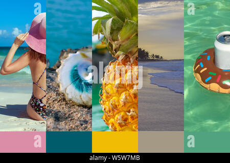 Collage made with beautiful tropical resort shots. A girl in a bikinis and pink hat, photo from the back, shells, ripe pineapple, sunset, Inflatable d - Stock Photo