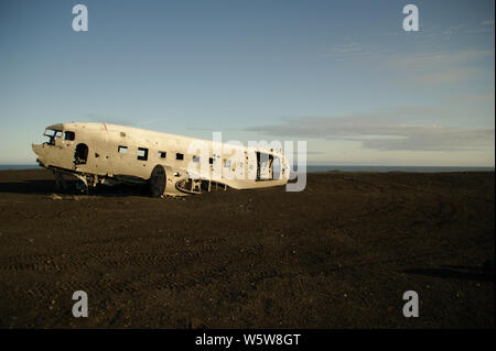 Wreckage of crashed airplane in 1973 Douglas R4D Dakota DC-3 C 117 of the US Navy in Iceland at Solheimsandur beach. - Stock Photo