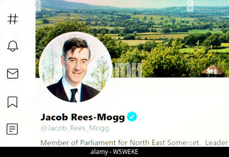 Twitter page (July 2019) - Jacob Rees-Mogg MP - Lord President of the Council, Leader of the House of Commons - Stock Photo