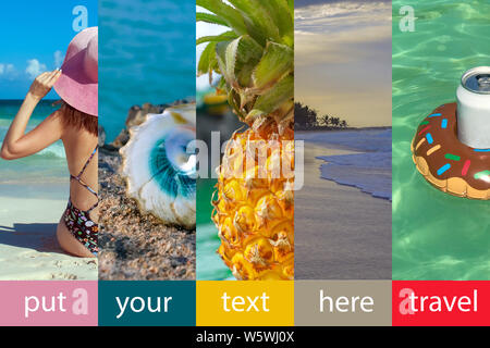 Collage made with beautiful tropical resort shots. Five pictures and five multicolored cells for text. A girl in a bikinis and pink hat, photo from th - Stock Photo