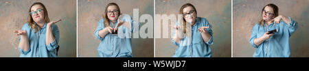 collage Portraits of attractive plus size woman having emotions wonder with the phone in hand isolated over colored background. Concept of emotions. E - Stock Photo