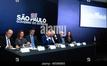 Sp, Brazil. 29th July, 2019. Governor João Doria at a press conference to announce the investment of the pulp producer Bracell in the state of São Paulo, at the headquarters of the Government of São Paulo (SP), on Monday (29). Credit: Adeleke Anthony Fote/Pacific Press/Alamy Live News - Stock Photo