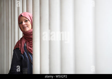 Journalist and human rights activist Lauren Booth ahead of her Edinburgh Fringe one woman show 'Accidentally Muslim' which will be performed at the Gilded Balloon throughout the Edinburgh Festival. - Stock Photo