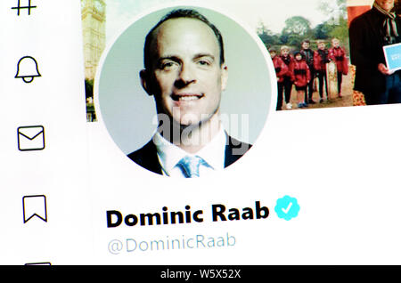 Twitter page (July 2019) - Rt Hon Dominic Raab MP - Secretary of State for Foreign and Commonwealth Affairs and First Secretary of State - Stock Photo