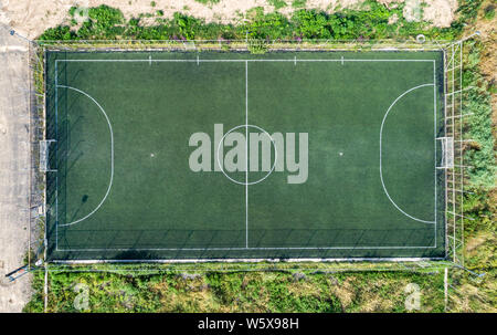 Old amateur football field. Drone photo. - Stock Photo