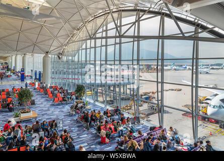 Departure gates in a terminal at Hong Kong International Airport, Chep Lak Kok, Hong Kong, China