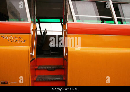 Detail of the exterior of a traditional Malta Bus in la Velleta - Stock Photo