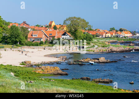 View over white sand beach of Naes Strand on sunny morning, Allinge, Bornholm Island, Baltic sea, Denmark, Europe - Stock Photo