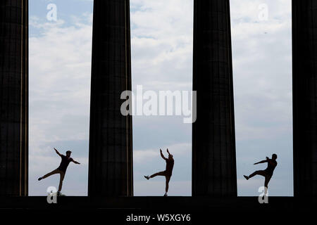 Edinburgh, Scotland. UK. 30 July 2019. Press call Photocall: amazing acrobatics as Bromance returns to Edinburgh Assembly Rooms. Barely Methodical Troupe Festival 2019 as a part of Edinburgh Fringe Festival. Pictured: Louis Gift, Charlie Wheeller, Beren d'Amico Credit: Andrew Eaton/Alamy Live News. - Stock Photo