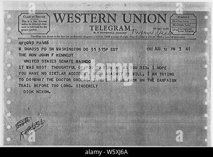 Richard Nixon Telegram to John F. Kennedy August 31, 1960; Scope and content:  Vice President Richard Nixon's response to message from Senator John F. Kennedy. Nixon had been injured and Kennedy stated he would not start his campaign until Nixon had recovered. - Stock Photo