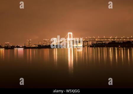 Tokyo Bay at night - Stock Photo