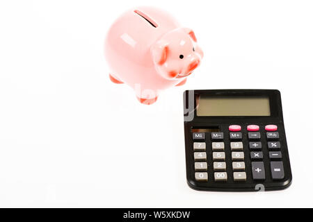 planning and counting budget. bookkeeping. financial problem. income capital management. money saving. Accounting and payroll. moneybox with calculator. Piggy bank. secured property - Stock Photo