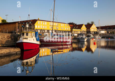 View of the harbour, Svaneke, Bornholm Island, Baltic sea, Denmark, Europe - Stock Photo