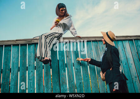 Tom Sawyer Pretty woman in the straw hat standing in front of fence. The woman painted a wooden fence. - Stock Photo