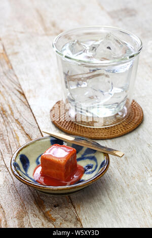 tofuyo, hard tofu dipped in red malt and awamori, japanese okinawa delicacy food - Stock Photo