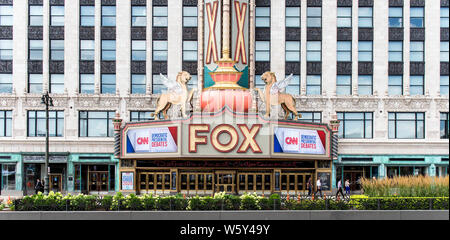 Detroit, Michigan, USA. 30th July, 2019. The Fox Theater, site of the two Democratic Debates in Detroit hosted by CNN and sanctioned by the DNC. Credit: Brian Cahn/ZUMA Wire/Alamy Live News - Stock Photo