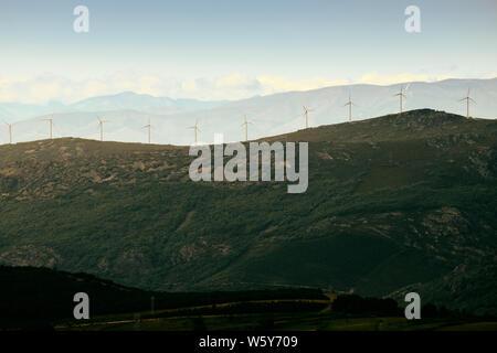 Power Generation Eolic Wind Turbines Field In Spain