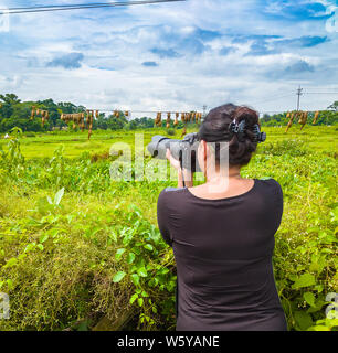 Young Lady Wildlife Photographer taking photos with Zoom Lens. - Stock Photo