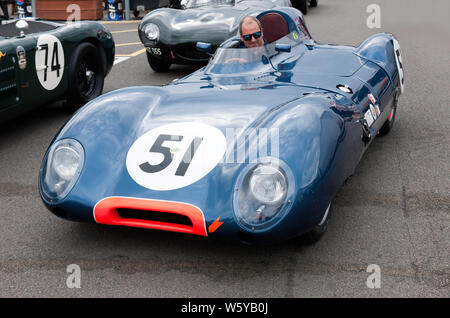 Close-up of a  1958, Lotus XI Le Mans, waiting in the National Paddock, for the start of Stirling Moss Trophy for Pre '61 Sports Cars race - Stock Photo