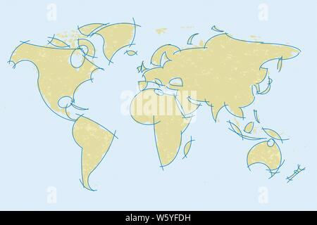 Vector illustration. Antique world map bordered by curved lines. - Stock Photo
